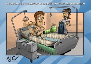AJC douche au lit - dessin humouristique